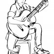 Boy playing on the guitar on white background - Stock Vector