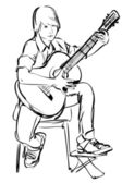 Boy playing on the guitar on white background — Stock Vector