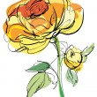 Sketch of yellow rose on a white background - Imagen vectorial
