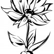 Sketch of blossoming out flower on a stem — Stockvektor