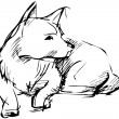 Sketch of home animal dog that lies — Stock vektor