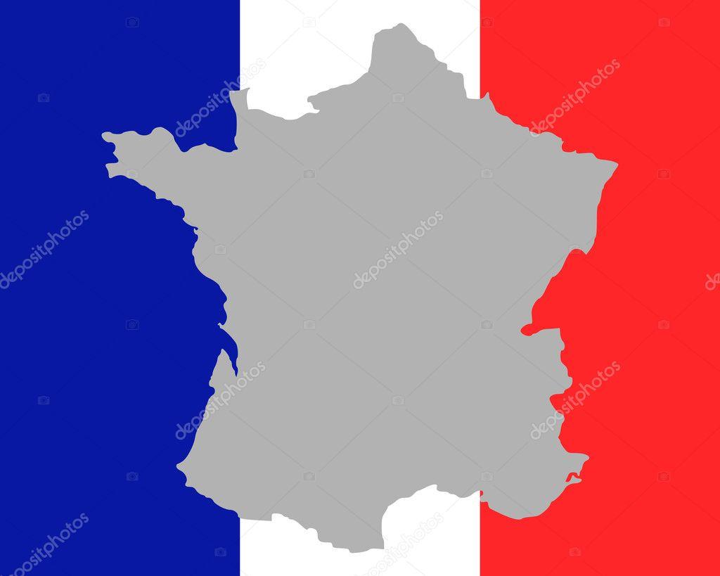 地图和法国国旗