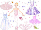 Ballerina with costumes — Vector de stock