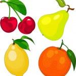 Cartoon fruit set — Stock Vector