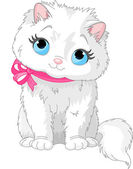 Cute white cat — Stock Vector