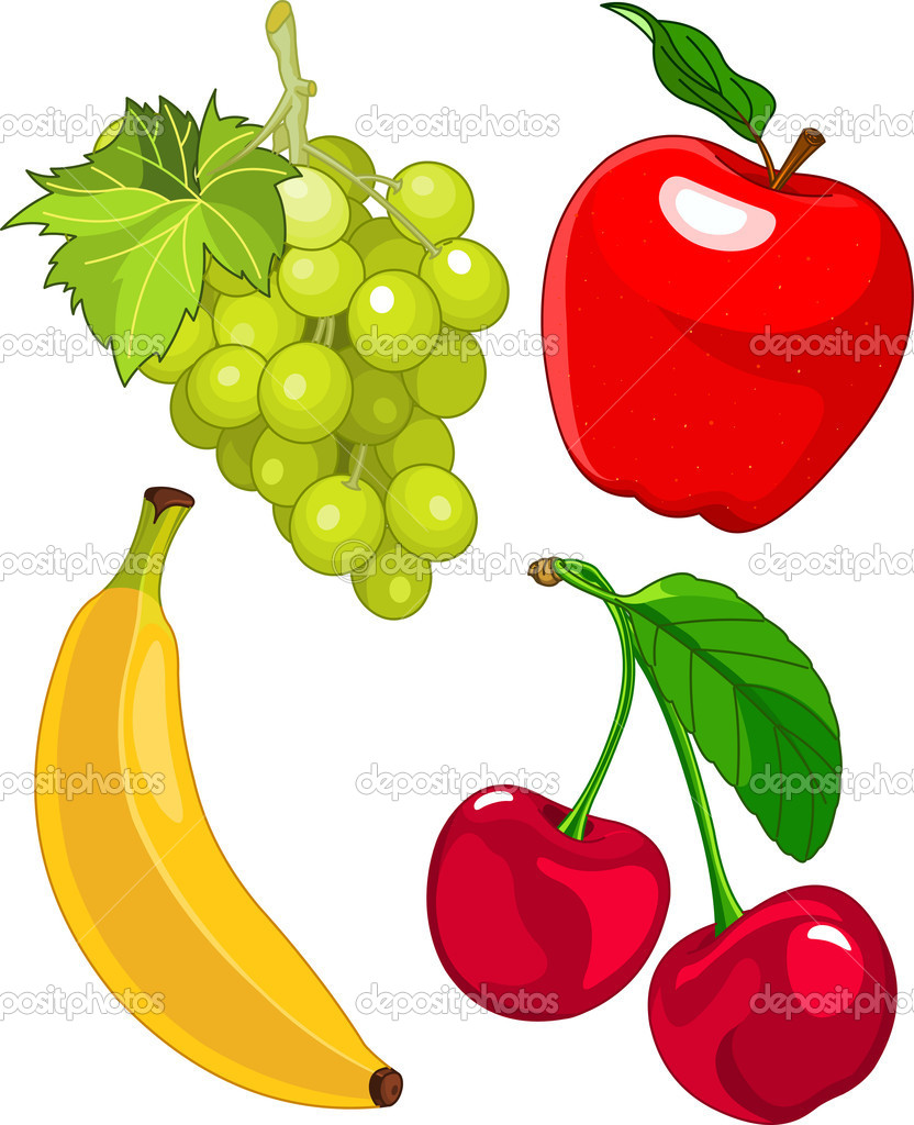 Cartoon fruit set, include banana, grape, apple and cherry — Stock Vector #11300509