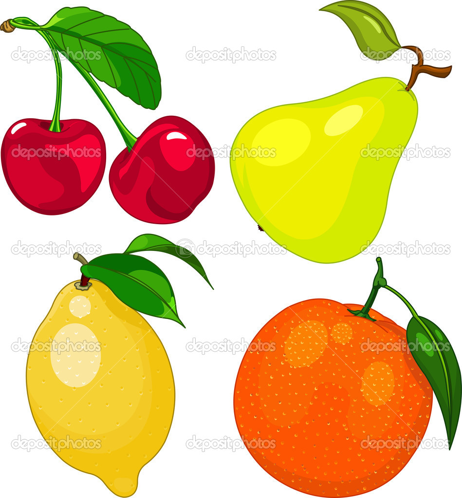 Cartoon fruit set, include cherry, pear, lemon and orange — Stock Vector #11300514