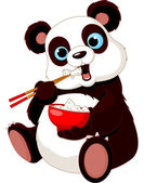 Panda eating rice — Stock Vector
