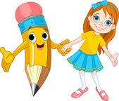 Dziewczyna i ołówek — Wektor stockowy