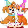 Cat and Dog celebrating - Stock Vector