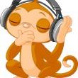 Cute little Monkey listening music — Stock Vector