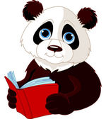 Panda reading a book — Stock Vector