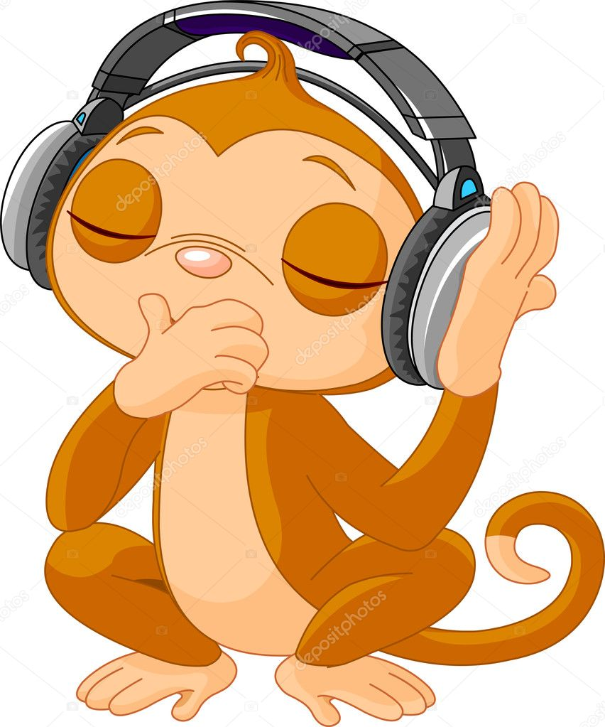 Cute little Monkey listening music with headphones  Stock Vector #12010051