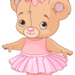Cute Teddy Bear Ballerina — Stock vektor