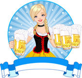 Oktoberfest girl label — Stock Vector