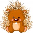 Fun zoo. Porcupine - Stock Vector