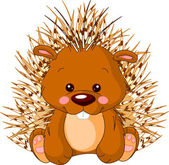 Fun zoo. Porcupine — Stock Vector