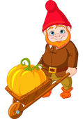 Garden Gnome with wheelbarrow — Stock Vector