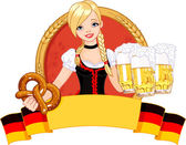 Oktoberfest girl design — Stock Vector