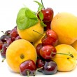 Fresh apricots and sweet cherries — Stock Photo
