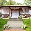 Wedding wooden arbour — Stock Photo