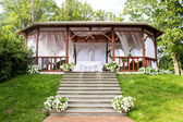 Wedding wooden arbour — Stock Photo
