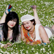 Stock Photo: Two pleasant ladies have a rest