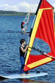 Young boy on windsurfing — Stock Photo