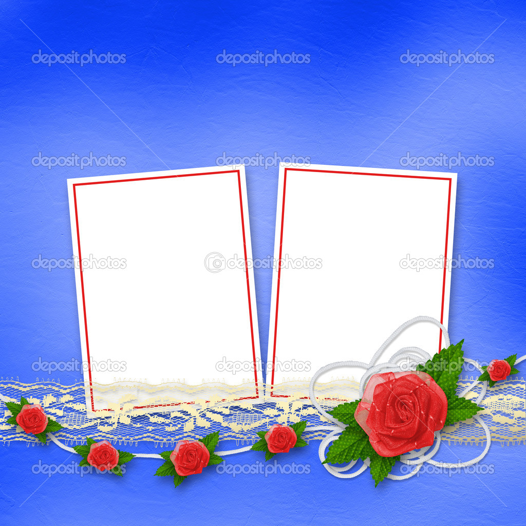 Card for invitation or congratulation with buttonhole and lace  Stock Photo #10970570
