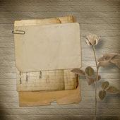 Antigua postal de felicitación o invitación con montón de flujo — Foto de Stock