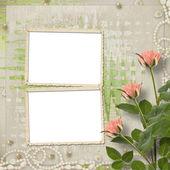 祝贺玫瑰和珍珠的复古旧明信片 — 图库照片