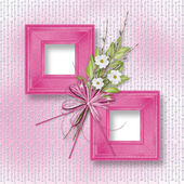 Card for invitation or congratulation with bunch of flowers and — Stock Photo