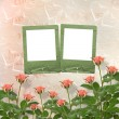 Card for congratulation or invitation with frames and pink roses — ストック写真