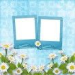 Card for congratulation with blue slides and bouquet of flowers — ストック写真