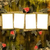 祝贺与美丽玫瑰的 grunge 背景 — 图库照片
