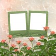 Card for congratulation or invitation with frames and pink roses — ストック写真 #11095230