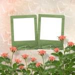 cartão de felicitações ou convite com quadros e rosas — Foto Stock