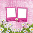 Card for congratulation with pink slides and bouquet of flowers — ストック写真