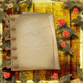 Grunge zázemí pro blahopřání s notebookem a krásná — Stock fotografie