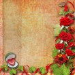 Card for congratulation or invitation with red roses — Foto de Stock