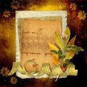 Antigua postal de felicitación con ramo de flores en abstrac — Foto de Stock