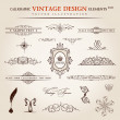 Stok Vektör: Vector set. Calligraphic vintage elements and page decoration pr
