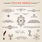 Vector set. Calligraphic vintage elements and page decoration pr — Stock Vector