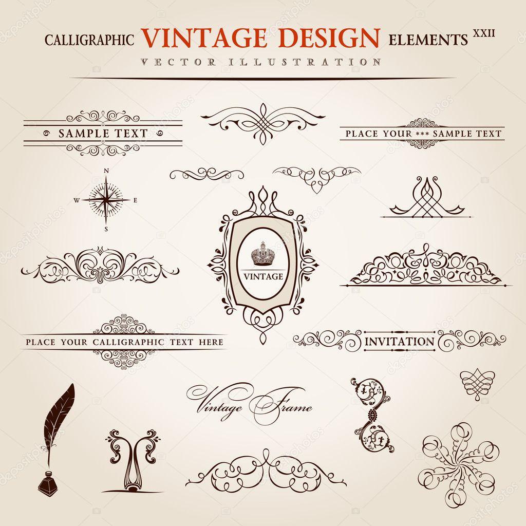 Vector set. Calligraphic vintage elements and page decoration pr ...
