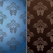 Seamless wallpaper set vector curves vintage background blue bro - Stock Vector