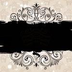 Grunge black banner with old background. Vintage patterned borde — Stock Vector