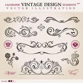Vecteur défini classique. éléments de dessin calligraphique ornement decora — Vecteur
