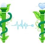 Alternative Medicine symbol - The Green Asklepian — Stock Vector
