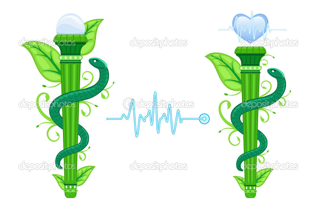 The Green Asklepian - alternative, naturopathic, homeopathic medicine. Set of two, with EKG heart graph. Isolated over white background. Vector file saved as EPS AI8, no effects, easy print and edit. — Stock Vector #10930950