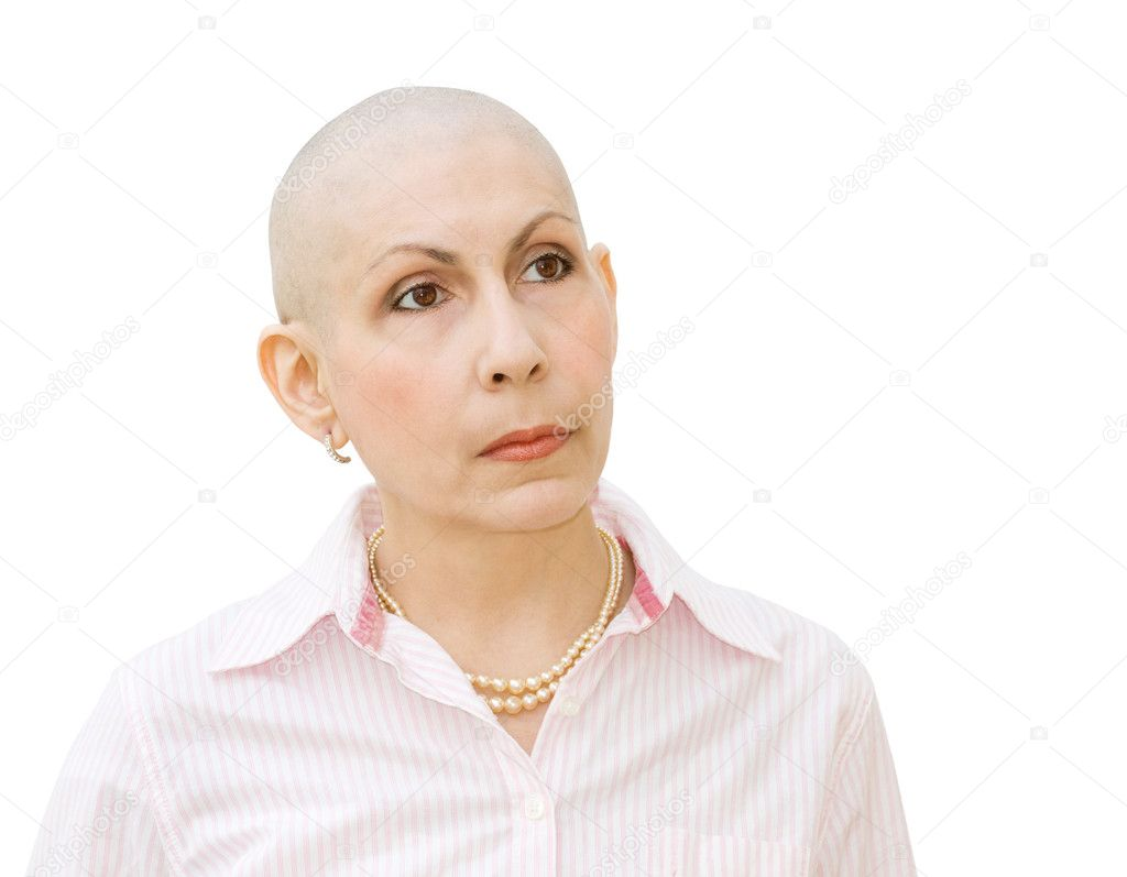 Woman cancer patient undergoing chemotherapy and suffering hair loss. Portrait looking sideways. Real woman diagnosed with ovarian and breast cancer. Isolated over white background. — Stock Photo #11177915